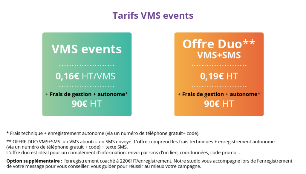 Tarifs VMS EVENTS